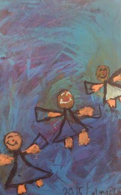 Mavi Melekler , tuval üzerine akrilik, satışından elde edilecek gelir minik ressam tarafından sokak canları için bağışlandı, #esraünercocukatölyesi , #ortakdolap , #sosyalsorumluluk , #hepsicanlara ,