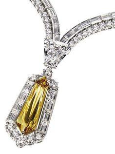 Harry Winston Brown Kite Diamond and White Diamond Necklace