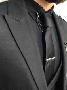 Suit material: Wool , Poly, Lycra Machine washable : No Fitting : Regular Slim-fit Remarks: Dry Cleaning Only All Black Suit, All Black Men, Mens Fashion Suits, Mens Suits, Men's Fashion, Dress Suits For Men, Designer Suits For Men, Slim Fit Suits, Wedding Suits