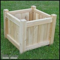 Get back to container gardening basics with an elegant Cedar Garden Planter from WindowBox. This timeless square outdoor planter has an attractive vertical slat design with a four-post silhouette. Containers are made of Northern White Cedar from Maine Planter Box Plans, Cedar Planter Box, Diy Planter Box, Cedar Box, Diy Wooden Planters, Outdoor Planters, Wooden Diy, Outdoor Decor, Garden Planters