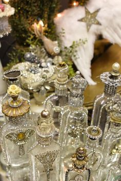 bottles with bling from romancing the home