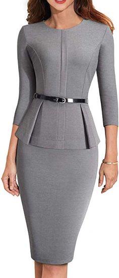 69ebed7e32 HOMEYEE Women s 3 4 Sleeve Office Wear Peplum Dress with Belt B473(6
