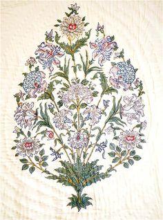 Jaipur Bouquet with chrysanthemums, lilies, roses and dahlias. Block print by Brigitte Singh