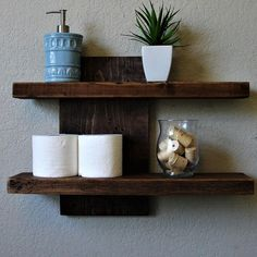 Modern rustic 2 tier floating wall shelf by keodecor on etsy - could diy fl Wall Shelves Design, Diy Wall Shelves, Wall Racks, Wood Shelves, Deep Shelves, Glass Shelves, Modern Rustic, Modern Decor, Rustic Furniture