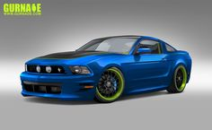 Ford Mustang Rendering - Blue & Green