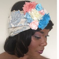 Designer Headband Fascinator Cream, Blue, Peach This Beautiful vintage inspired stretch lace headband is from the Crowned in Royalty Collection, designed by Catherine Nichole, headwear designer and artist. It is a one-of-a-kind band, made of elastic lace which contours to the lady wearing it. Upgrade your fashion sense and style with this one-of-a-kind piece. It's perfect for any occasion. It is easy to style and the possibilities are endless. Thanks for browsing!  Crowned in Royalty…
