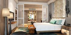 Guestrooms are decorated using indigenous Mauritian materials and natural textiles.