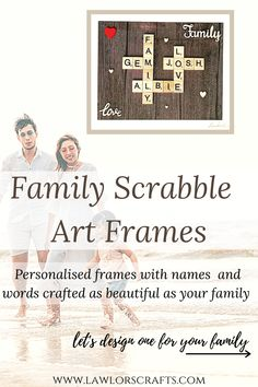 Scrabble Frame Gifts that are unique and personalised to surprise your family,friends in a special way this thanksgiving and christmas ! These memorable scrabble tile frames are wonderful gifts for mum,dad,grandparents,friends and can be customized to suit your style ...Please check our etsy shop for more colors,designs ..Handmade from Ireland and can be beautifully gift wrapped #scrabbleframes,#thanksgivinggifts Scrabble Frame, Wooden Scrabble Tiles, Scrabble Art, Personalised Family Tree, Personalised Frames, Laser Engraved Gifts, Family Tree Frame, Handmade Christmas Gifts, Thanksgiving Gifts