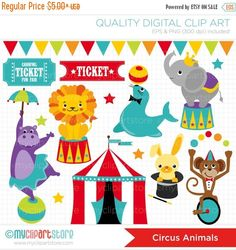 This CIRCUS ANIMALS clipart set includes adorable circus animals, such as an elephant on a podium, a seal playing with a ball, a monkey on a bike,