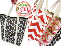 Gift Tote Trio in Small, Medium & Large: Christmas in July with Fabric.com | Sew4Home
