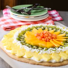 Tropical Fruit Pizza with Coconut Cream Cheese Frosting ~ http://www.garnishwithlemon.com