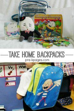 Take home backpacks for preschool and kindergarten. Fun, educational backpacks that parents and kids love!