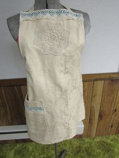 Country Cream Linen Apron by Textiletwist on Etsy