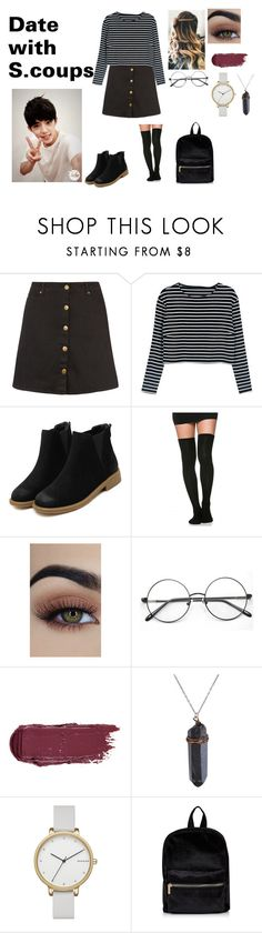 """Date with S.coups"" by spicy-noodle ❤ liked on Polyvore featuring City Chic, WithChic, Skagen, kpop, seventeen, scoups and plus size clothing"