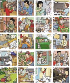 Job skills and activities vocabulary. English lesson in PDF with basic conversation and exercise