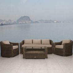 Palma Conversation Seating Group by International Home Miami. $2199.00. Gray/beige wicker with subtle beige polyester cushions. 3-seat sofa dimensions: 75L X 29,5W X 29,5H inches. Tempered glass table with storage shelf beneath. All-weather resin wicker material won't rot or crack. Spacious set seats 5 comfortably. PLI PALMA4 Features: -Aluminum and synthetic wicker frame.-Free feron gard vinyl preservative for longest strap durability.-It works great against the effects of ...