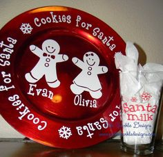 Santa Plate Cookies & Milk for Santa Plate and Glass Set Personalized Christmas In Heaven, Christmas Vinyl, Christmas Plates, Christmas Projects, Holiday Crafts, Christmas Crafts, Christmas Tables, Christmas Ideas, Xmas