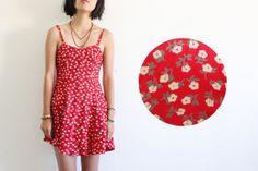 Foundet - Red floral dress / spaghetti strap / festival dress / sweet heart neckline