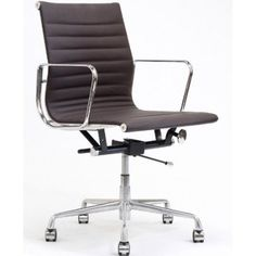 Amazon.com: LexMod Ribbed Mid Back Office Chair, Brown Genuine Leather: Home & Kitchen