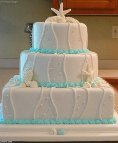 Wedding Cakes Pictures: Seashell Wedding Cake - Blue Trim Yes. Pretty Cakes, Cute Cakes, Beautiful Cakes, Tiffany Blue, Seashell Wedding, Seashell Cake, Starfish Cake, Our Wedding, Dream Wedding