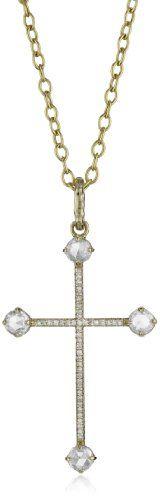 Mizuki 14k Large Rose Cut Diamond Cross Necklace On Cable Chain, 24″