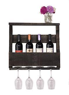 Wine Racks - DAKODA LOVE The Original Wine Rack USA Handmade Reclaimed Wood  Wall Mounted 4 Bottle 4 Long Stem Glass Holder Shelf Ebony     Continue to  the ... 5fd59408fabc