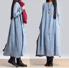 women maxi dress linen dress long sleeve dress linen by customsize