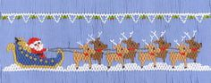 Santa and His Reindeer (270)    This smocking plate has 7 rows and includes   design, instructions and DMC colors used.