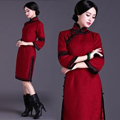 Shop elegant silk cheongsam, traditional Chinese red bridal dresses, sexy modernize Qipao from www.ModernQipao.com. Save 6% by share our products. Bell sleeve wine red woolen qipao vintage Chinese winter cheongsam