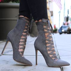 Army Green Black Grey Pink Womens Shoes Faux Suede Cross-tied Strappy High Heels Pointed Toe Lace Up Ankle Boots Sexy Stilettos Lace Up Ankle Boots, High Heel Boots, Lace Up Shoes, Over The Knee Boots, Heeled Boots, Dress Shoes, Calf Boots, Women's Boots, Gladiator Boots