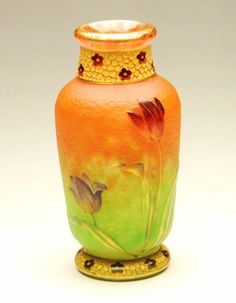 Vase from Daum studio in Nancy, Frnace, during the Art Nouveau era
