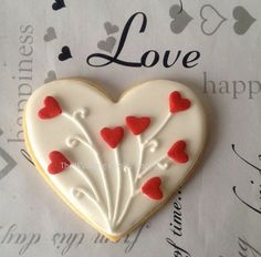 Items similar to I Love You Heart-shaped Cookies (One Dozen) - Valentine's Day cookies - Bridal Shower Favors - Wedding Favors - Wedding cookies on Etsy Valentine's Day Sugar Cookies, Fancy Cookies, Iced Cookies, Cookies Et Biscuits, Cupcake Cookies, Summer Cookies, Cookie Favors, Flower Cookies, Easter Cookies