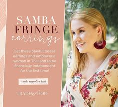 These playful fringe earrings are fair trade and ethically handmade by women in Thailand. Their deep maroon color will be perfect for fall! Get them while supplies last! Fringe Earrings, Statement Earrings, Find Work, Maroon Color, Women Empowerment, First Time, Fair Trade, Artisan, Fall Wardrobe