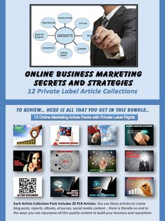 Online Business Marketing Secrets and Strategies - 12 Private Label Article Collections, each containing 20 PLR articles.  #internetmarketing #onlinebusiness #marketingarticles #onlinemarketing #internetbusiness