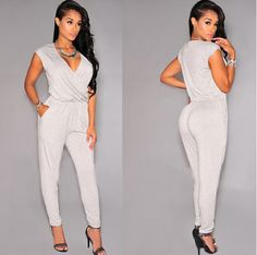 Sexy Simple Fashion Summer Lightweight Women's White Body Jumpsuit S-L