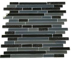 "Dark Night Glossy Stone Glass Mosaic Tiles Sheet Size: 12 7/8"" x 11 3/4"" x 3/8"" Tile Size: Random Brick Type: Glass, Stone Finished: Glossy, Polished HTCWG3"