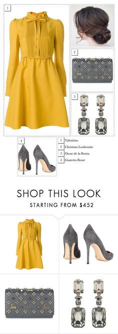 """""""#1616"""" by thecrownoutfits ❤ liked on Polyvore featuring Valentino, Gianvito Rossi, Christian Louboutin and Oscar de la Renta"""