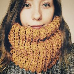 Mustard cowl mustard infinity scarf chunky by FawnAndFolly on Etsy