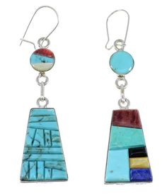 Multicolor Inlay Silver Reversible Hook Dangle Earrings www.silvertribe.com