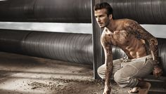 David Beckham shows off toned and tattooed torso for the HM Bodywear Campaign Spring/Summer 2014 David Beckham Shirtless, Tommy Hilfiger, New Underwear, Tattoo Women, Clips, Celebrity Dads, My Guy, Emporio Armani, Beautiful Men