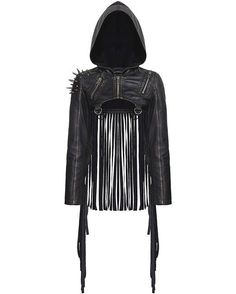 Punk Rave Dystopia Hooded Shrug Jacket Dieselpunk Post Apocalyptic LARP  Leather f9d04b4531