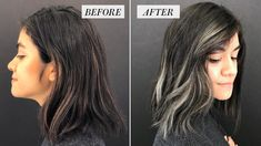 black hair trends I Added Smoky Gray Highlights to My Brown Hair: Before and After - Allure Highlights For Dark Brown Hair, Hair Color Dark, Brown Hair Colors, Highlights For Greying Hair, Dark Grey Hair Dye, Grey Brown Hair, Color Highlights, Ash Grey, Best Grey Hair Dye