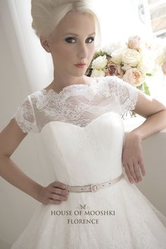 Glamorous Florence is a lace and tulle short wedding dress with cap sleeves and illusion neckline. A modern lace peplum adorns the tulle circle skirt Tea Length Wedding Dress, One Shoulder Wedding Dress, Lace Weddings, Wedding Gowns, Elegant Ball Gowns, Dress Shapes, Different Dresses, Vintage Gowns, Short Dresses
