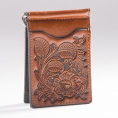 Floral Tooled Money Clip Wallet - Accessories - National Cowboy Museum