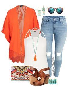 Plus Size Orange Kimono - Plus Size Outfit Idea - Plus Size Fashion… Look Kimono, Kimono Outfit, Plus Zise, Mode Plus, Look Plus Size, Plus Size Women, Casual Outfits, Fashion Outfits, Womens Fashion
