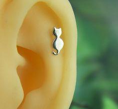 cat earring cartilage earring,cartilage stud,birthday gift,silver earring,sterling silver,animal,minimalist earring