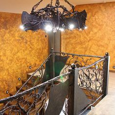 Hand wrought iron interior staircase railing - Roots Interior Railings, Interior Staircase, Staircase Railings, Interior And Exterior, Blacksmithing, Wrought Iron, Roots, Lighting, Home Decor