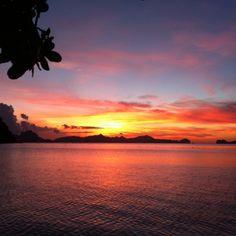 Sunset at Corong- corong beach El Nido, Palawan