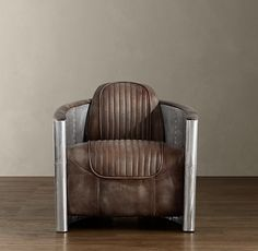 Aviator Natural Leather Chair in Stainless Steel