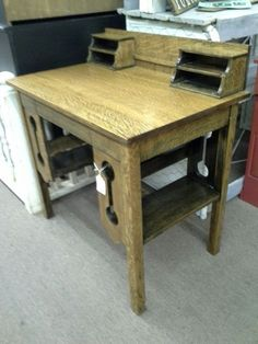 $199 - This antique oak Library desk has a single front door , cubbies on top and traditional bookshelves on each side. The desk is tiger oak, with original finish. It measures 34 inches across the front, 23 inches deep and stands 30 inches to the table top and 36 inches to the tallest point. It can be seen in booth D 17 at Main Street Antique Mall 7260 East Main St ( E of Power Rd ) Mesa 85207 480 9241122open 7 days 10 till 530 Cash or charge 30 day layaway also available